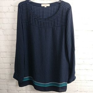 🖤Loft Navy and Teal blouse